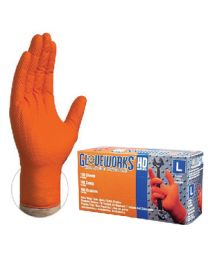 Ammex Gloves-Hd Nitrile Pf Orange Xl Amx Gwon48100